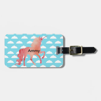 ROSE PEACH WATERCOLOR UNICORN WITH CLOUDS LUGGAGE TAG
