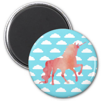 ROSE PEACH WATERCOLOR UNICORN WITH CLOUDS MAGNET