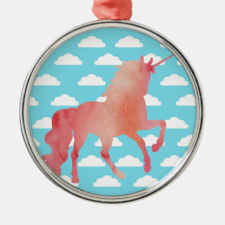 ROSE PEACH WATERCOLOR UNICORN WITH CLOUDS METAL ORNAMENT