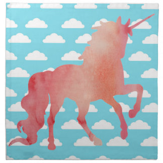 ROSE PEACH WATERCOLOR UNICORN WITH CLOUDS NAPKIN