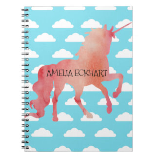 ROSE PEACH WATERCOLOR UNICORN WITH CLOUDS NOTEBOOK