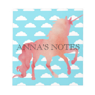 ROSE PEACH WATERCOLOR UNICORN WITH CLOUDS NOTEPAD