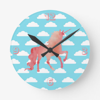 ROSE PEACH WATERCOLOR UNICORN WITH CLOUDS ROUND CLOCK