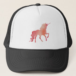 ROSE PEACH WATERCOLOR UNICORN WITH CLOUDS TRUCKER HAT