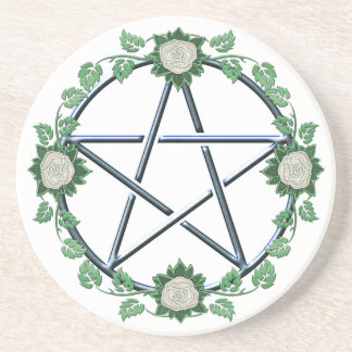 Rose Pentagram Pentacle Pagan Witch Altar Paten Coaster