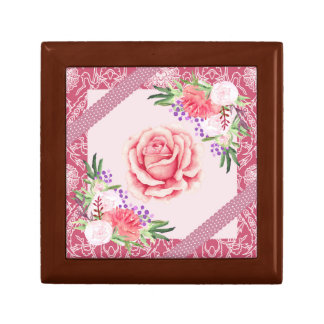 Rose Peony Blush Pink Purple Ribbons Floral Gift Box