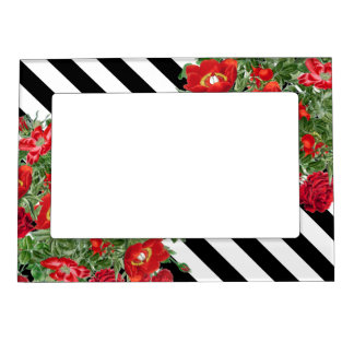 Rose Peony Flowers Floral Stripes Magnetic Frame