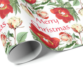 Rose Peony Flowers Merry Christmas Wrapping Paper