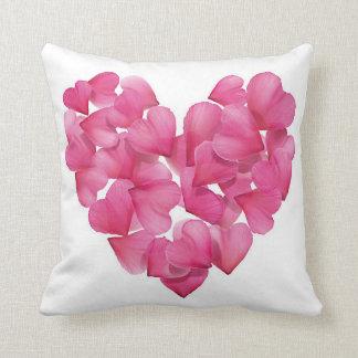 Rose petal heart design cushion