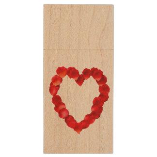 Rose Petal Heart Shape Wood USB 3.0 Flash Drive