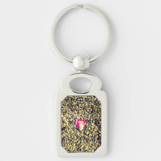 Rose Petal Silver-Colored Rectangle Key Ring