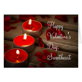 Rose Petals and Candles Valentine's Day Romantic Greeting Card