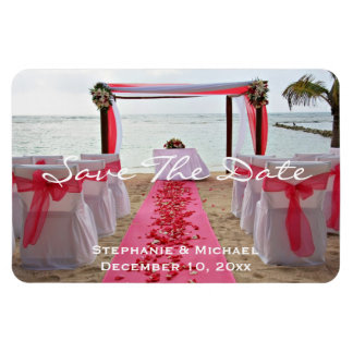 """Rose Petals On Red Carpet """"Save The Date"""" Magnet"""