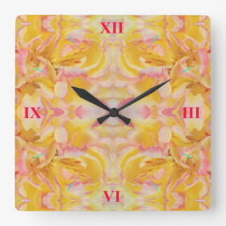 Rose Petals Scattered Everywhere Square Wall Clock