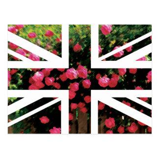 Rose Picture Union Jack British UK Flag Post Card