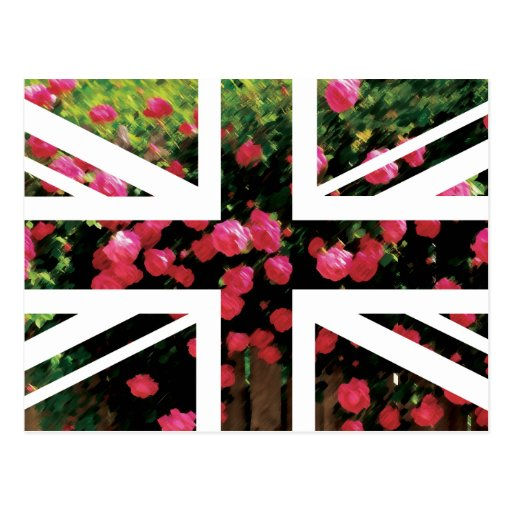 Rose Picture Union Jack British(UK) Flag Post Card