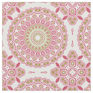 Rose Pink and Olive Green Kaleidoscopic Medallion Fabric