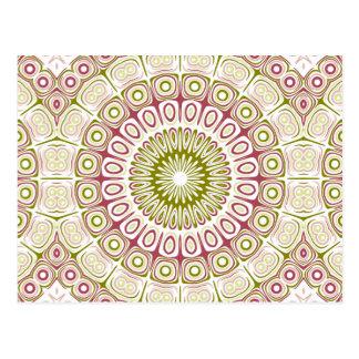 Rose Pink and Olive Green Mandala Medallion Postcard