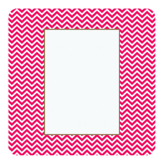 "Rose Pink and White ZigZag Chevron Valentine Waves 5.25"" Square Invitation Card"