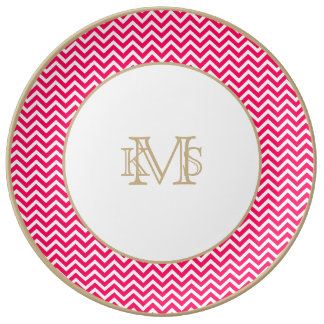 Rose Pink and White ZigZag Chevron Valentine Waves Porcelain Plates