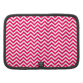 Rose Pink and White ZigZag Chevron Valentine Waves Folio Planners