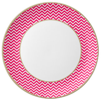 Rose Pink and White ZigZag Chevron Valentine Waves Porcelain Plate