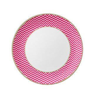 Rose Pink and White ZigZag Chevron Valentine Waves Porcelain Plates