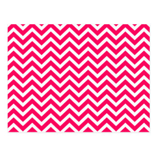 Rose Pink and White ZigZag Chevron Valentine Waves Postcard
