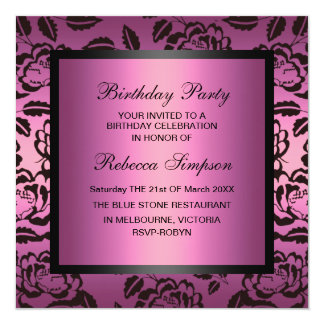 Rose Pink & Black Birthday Invitation