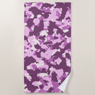 Rose Pink Camouflage Beach Towel