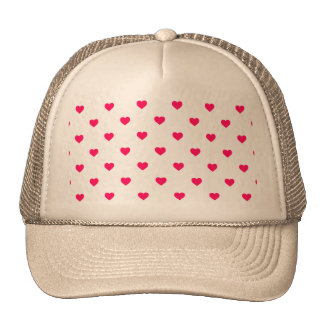 Rose Pink Candy Polkadot Hearts on White Trucker Hat