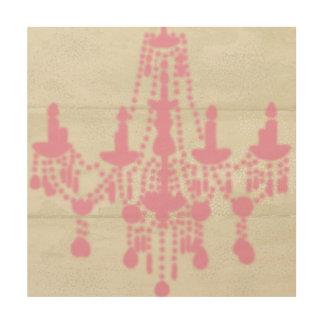 Rose Pink Chandelier on Shabby Wood Art, Wood Print