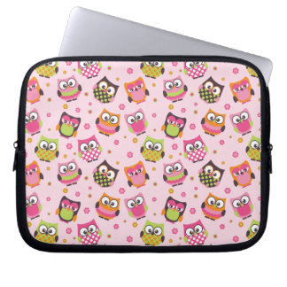 Rose Pink Colorful Owls laptop sleeve