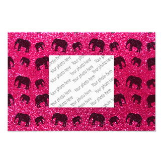 Rose pink elephant glitter pattern photo art