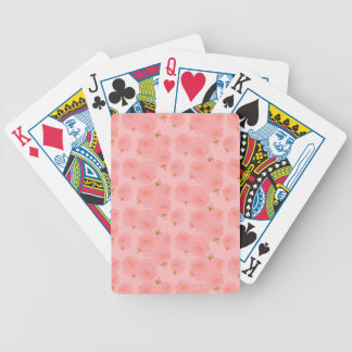 Rose pink floral pattern. bicycle playing cards