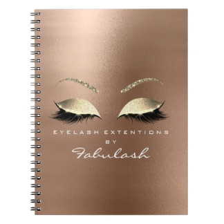 Rose Pink Gold Glitter Eyes Makeup Beauty Skinny Notebooks