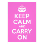 Rose Pink Keep Calm and Carry On 13 Cm X 18 Cm Invitation Card