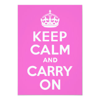 Rose Pink Keep Calm and Carry On Card