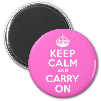 Rose Pink Keep Calm and Carry On Magnets