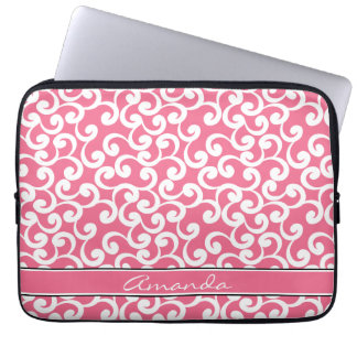 Rose Pink Monogrammed Elements Print Laptop Computer Sleeve