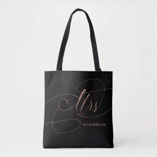 Rose Pink on Black Elegant Calligraphy | Mrs Tote Bag