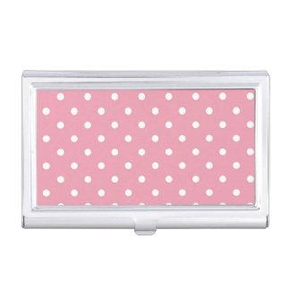 Rose Pink Polka Dots Business Card Holder