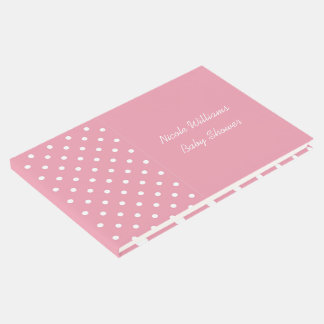 Rose Pink Polka Dots Custom Event Template Guest Book