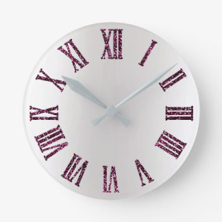 Rose Pink Purple Gray Silver Ombre Minimal Black Round Clock