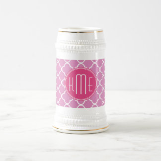 Rose Pink Quatrefoil with Custom Monogram Beer Stein