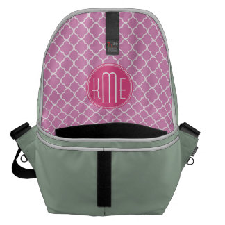 Rose Pink Quatrefoil with Custom Monogram Courier Bag