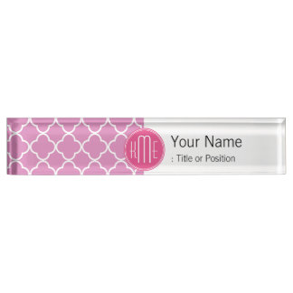Rose Pink Quatrefoil with Custom Monogram Desk Nameplate