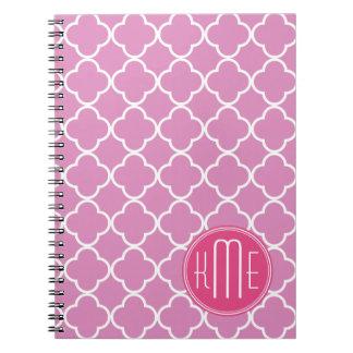 Rose Pink Quatrefoil with Custom Monogram Spiral Notebooks