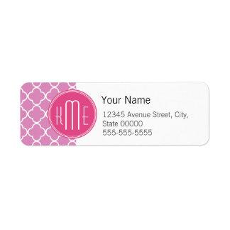 Rose Pink Quatrefoil with Custom Monogram Return Address Label
