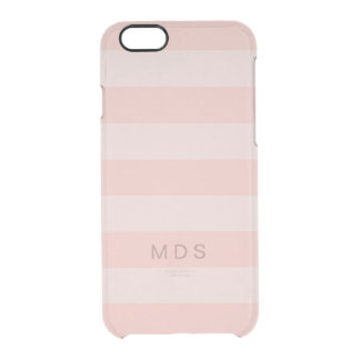 Rose Pink Stripe iPhone 6/6s Case, Custom Initials Clear iPhone 6/6S Case